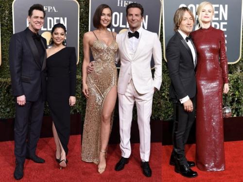 Heidi Klum avec Tom Kaulitz, Bradley Cooper et Irina Shayk... les couples sur le tapis rouge des Golden Globes 2019